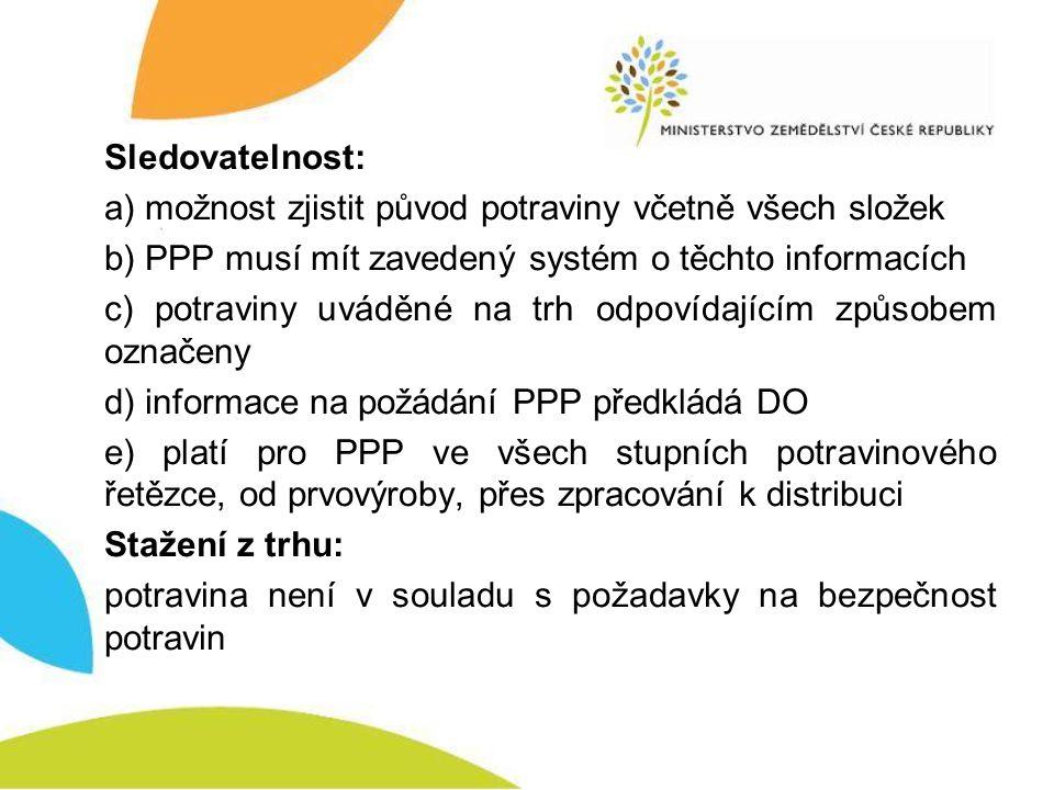 Sledovatelnost: a) možnost zjistit původ potraviny včetně všech složek b) PPP musí mít zavedený systém o těchto informacích c) potraviny uváděné na tr