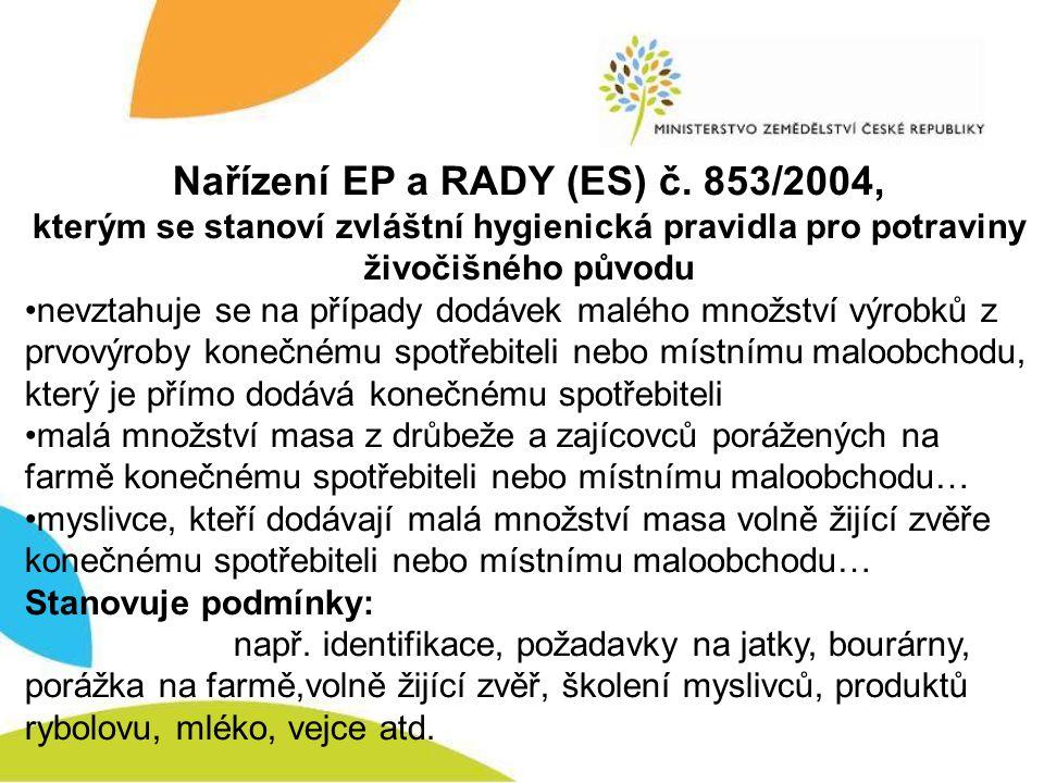 Nařízení EP a RADY (ES) č. 853/2004, kterým se stanoví zvláštní hygienická pravidla pro potraviny živočišného původu nevztahuje se na případy dodávek