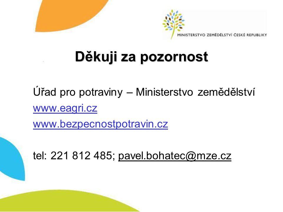 Děkuji za pozornost Úřad pro potraviny – Ministerstvo zemědělství www.eagri.cz www.bezpecnostpotravin.cz tel: 221 812 485; pavel.bohatec@mze.cz