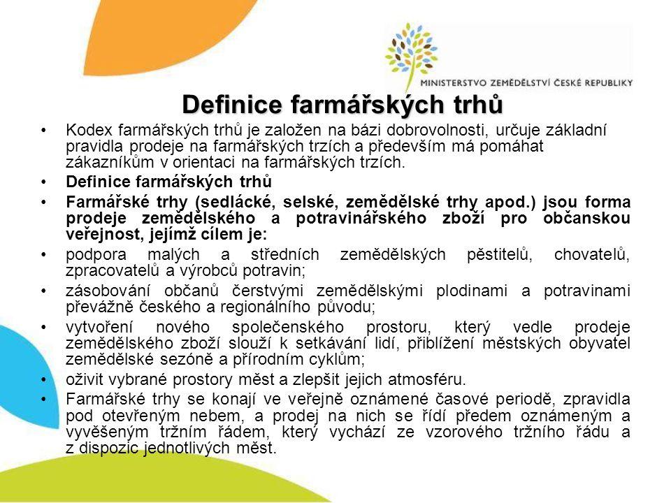 Definice farmářských trhů Kodex farmářských trhů je založen na bázi dobrovolnosti, určuje základní pravidla prodeje na farmářských trzích a především