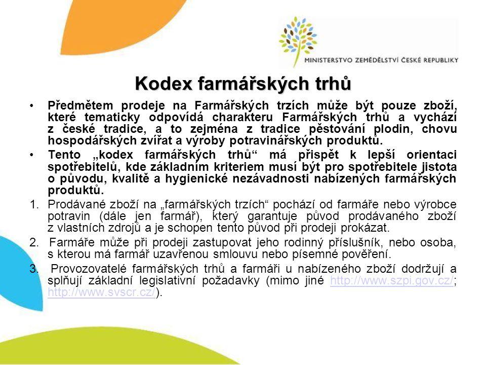 Kodex farmářských trhů Předmětem prodeje na Farmářských trzích může být pouze zboží, které tematicky odpovídá charakteru Farmářských trhů a vychází z české tradice, a to zejména z tradice pěstování plodin, chovu hospodářských zvířat a výroby potravinářských produktů.