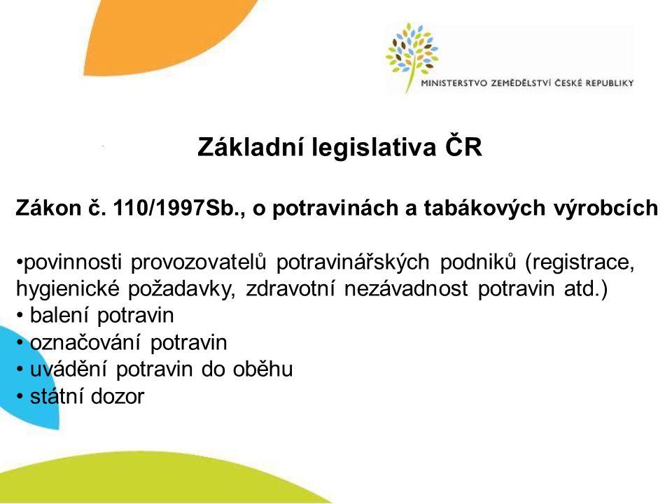 Základní legislativa ČR Zákon č. 110/1997Sb., o potravinách a tabákových výrobcích povinnosti provozovatelů potravinářských podniků (registrace, hygie