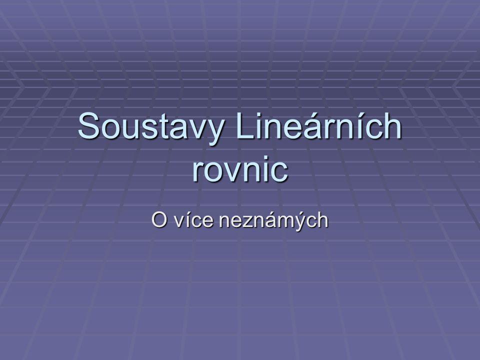 Soustavy Lineárních rovnic O více neznámých