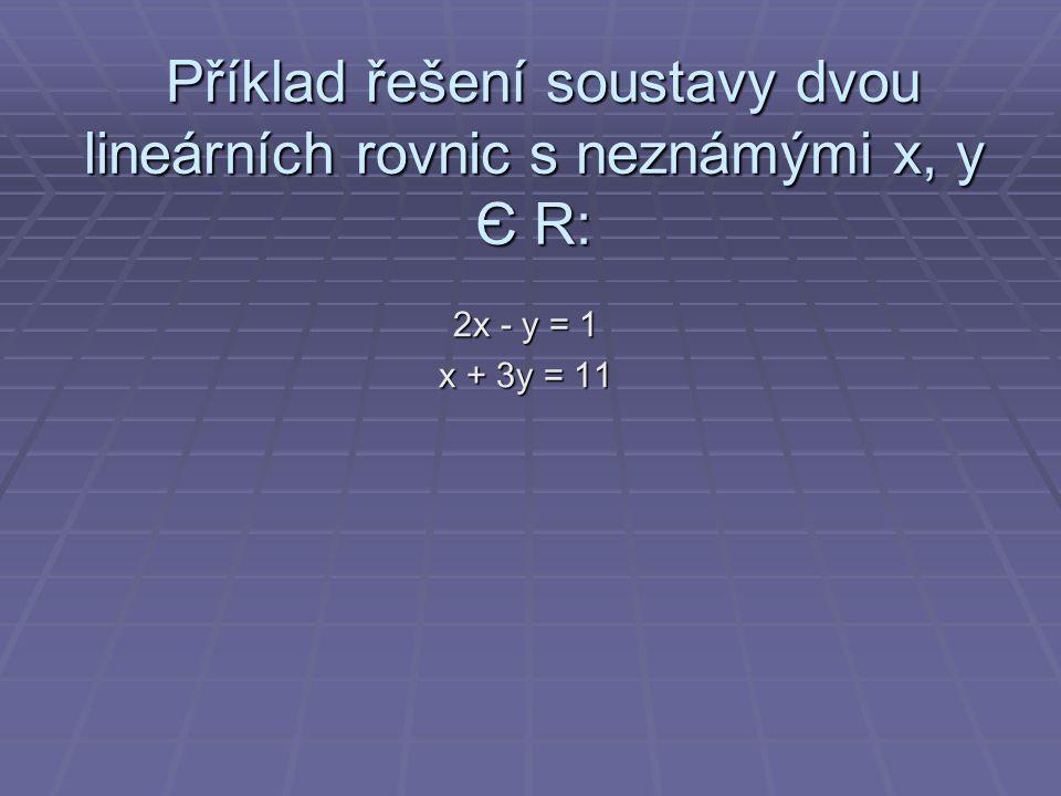 Příklad řešení soustavy dvou lineárních rovnic s neznámými x, y Є R: Příklad řešení soustavy dvou lineárních rovnic s neznámými x, y Є R: 2x - y = 1 x