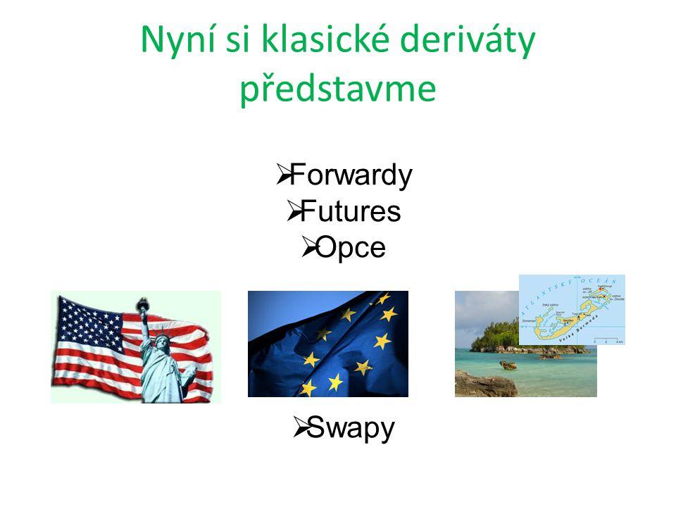 Nyní si klasické deriváty představme  Forwardy  Futures  Opce  Swapy