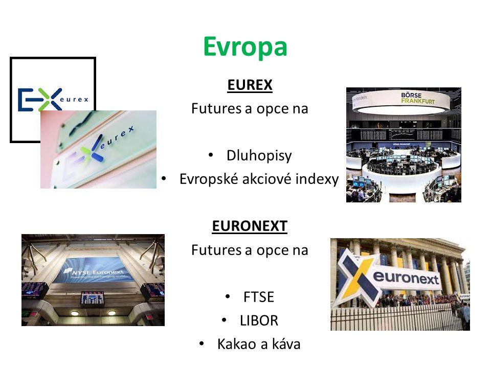 Evropa EUREX Futures a opce na Dluhopisy Evropské akciové indexy EURONEXT Futures a opce na FTSE LIBOR Kakao a káva