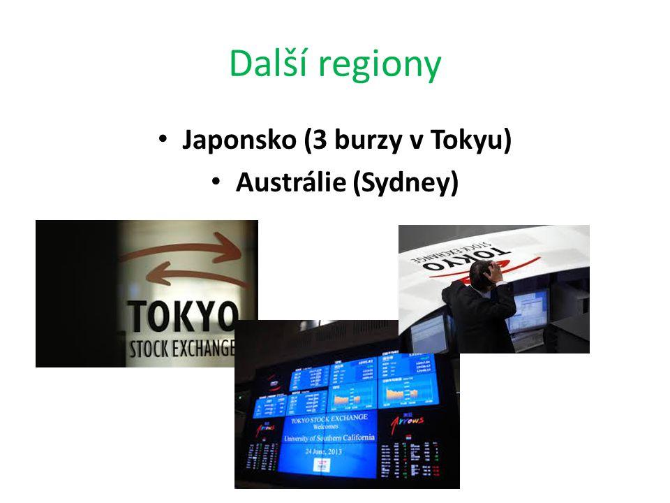 Další regiony Japonsko (3 burzy v Tokyu) Austrálie (Sydney)