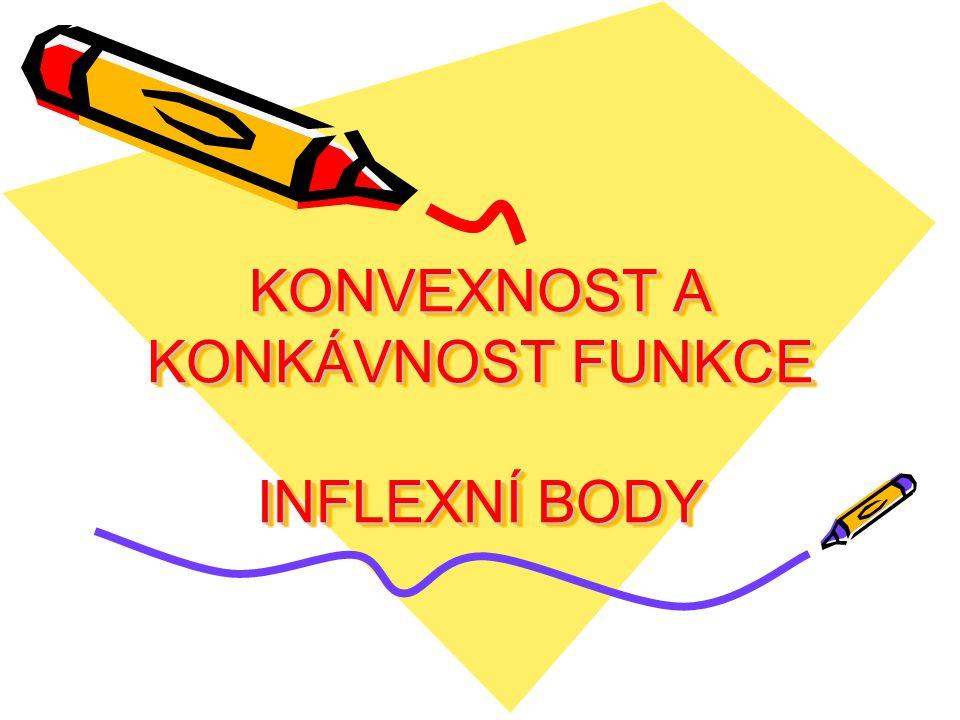 KONVEXNOST A KONKÁVNOST FUNKCE Def.: Funkce  se nazývá konvexní v intervalu I, právě když pro libovolná čísla x 1, x 2, x 3  I, která splňují nerovnost x 1 < x 2 < x 3, platí, že bod [x 2, f(x 2 )] leží pod přímkou procházející body [x 1, f(x 1 )], [x 3, f(x 3 )] nebo na ní.