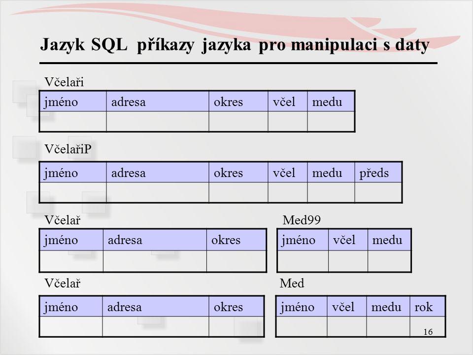 17 Jazyk SQL příkazy jazyka pro manipulaci s daty Vkládání nových řádků INSERT INTO tab [seznam_sloupců] VALUES(seznam_hodnot) Příklad: Nový včelař se přihlásil do organizace, dosud nemá výnosy.