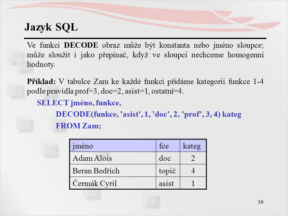37 Jazyk SQL Příklad: U mimopražských včelařů budeme tisknout adresy, u pražských jen Praha (=okres).