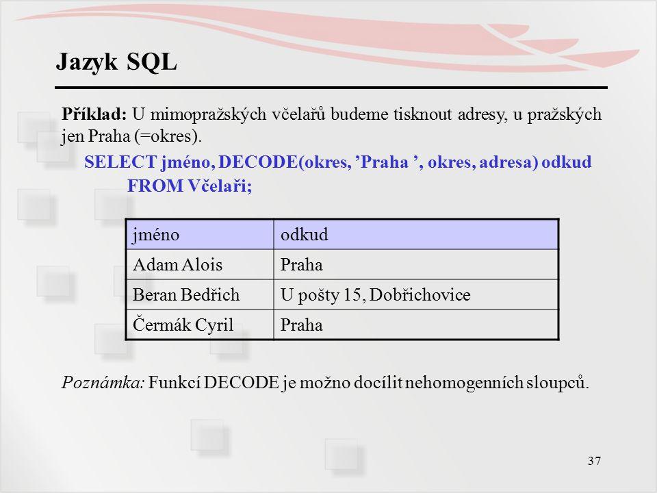 38 Jazyk SQL Funkce agregované jsou nerelační funkce nad sloupci, vyžádané praxí.