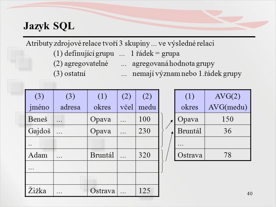 41 Jazyk SQL Příklad: Rozdělte zaměstnance fakulty podle kateder a funkcí, pro každou tuto skupinu určete jejich počet a průměrný plat.