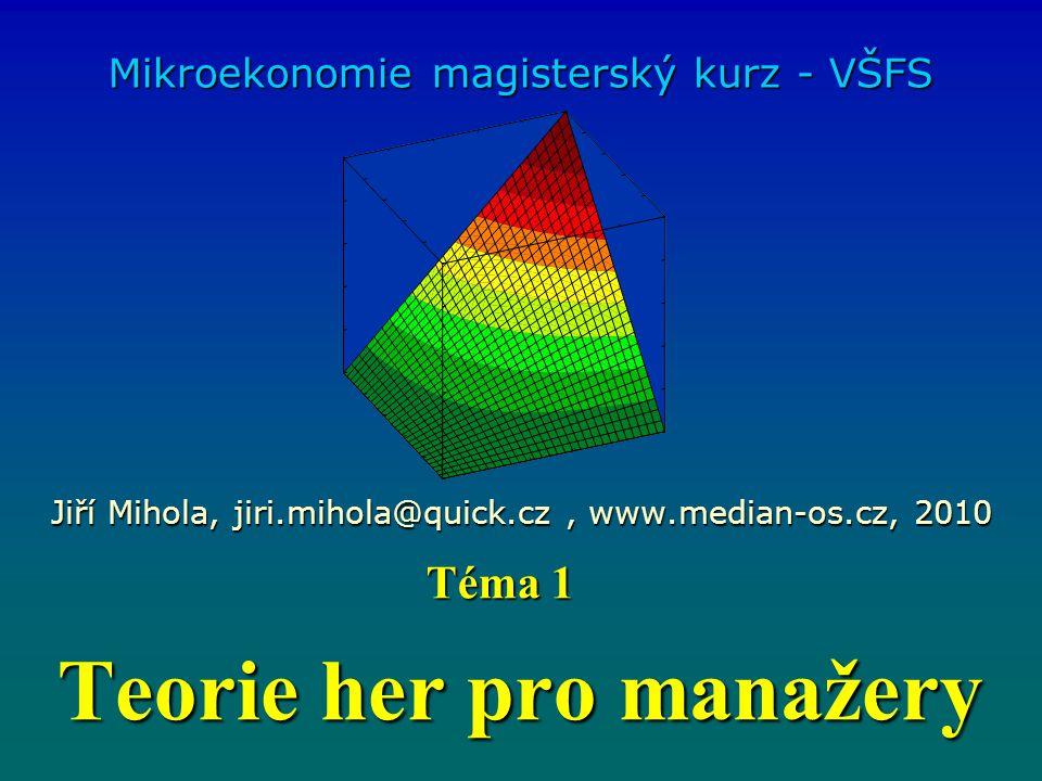 Teorie her pro manažery Mikroekonomie magisterský kurz - VŠFS Jiří Mihola, jiri.mihola@quick.cz, www.median-os.cz, 2010 Téma 1