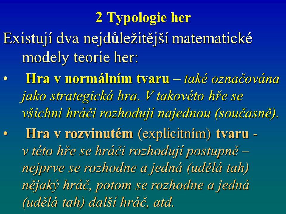 2 Typologie her Existují dva nejdůležitější matematické modely teorie her: Hra v normálním tvaru – také označována jako strategická hra. V takovéto hř