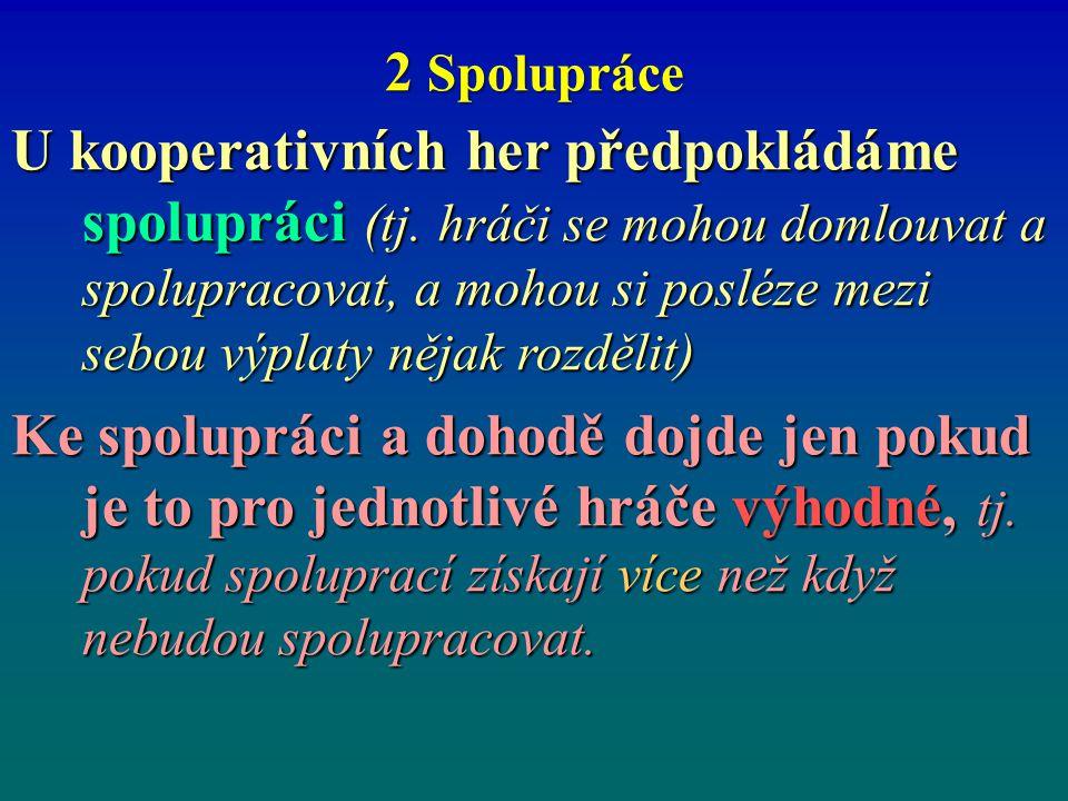 2 Spolupráce U kooperativních her předpokládáme spolupráci (tj. hráči se mohou domlouvat a spolupracovat, a mohou si posléze mezi sebou výplaty nějak