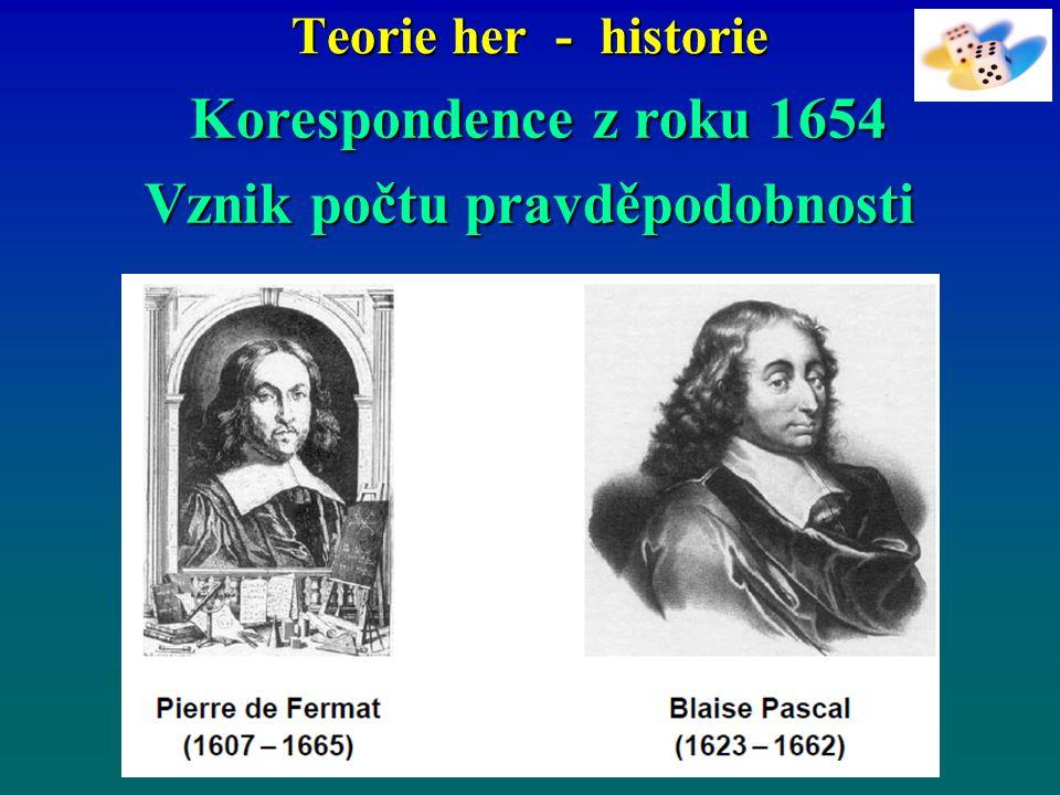 Teorie her - historie Korespondence z roku 1654 Korespondence z roku 1654 Vznik počtu pravděpodobnosti