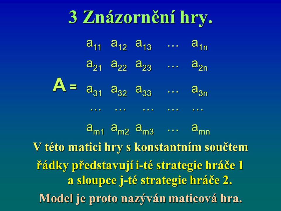 3 Znázornění hry. V této matici hry s konstantním součtem řádky představují i-té strategie hráče 1 a sloupce j ‑ té strategie hráče 2. Model je proto