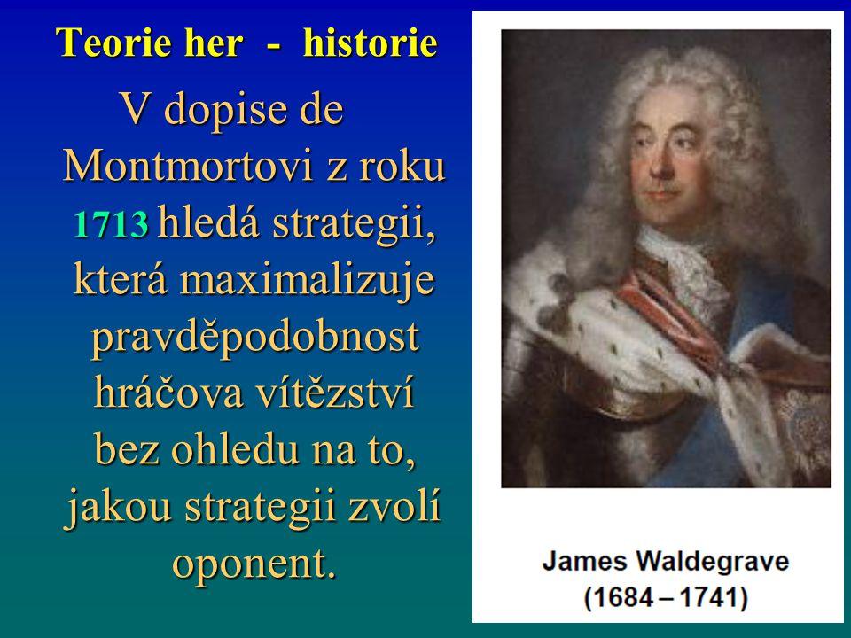 Teorie her - historie V dopise de Montmortovi z roku 1713 hledá strategii, která maximalizuje pravděpodobnost hráčova vítězství bez ohledu na to, jako