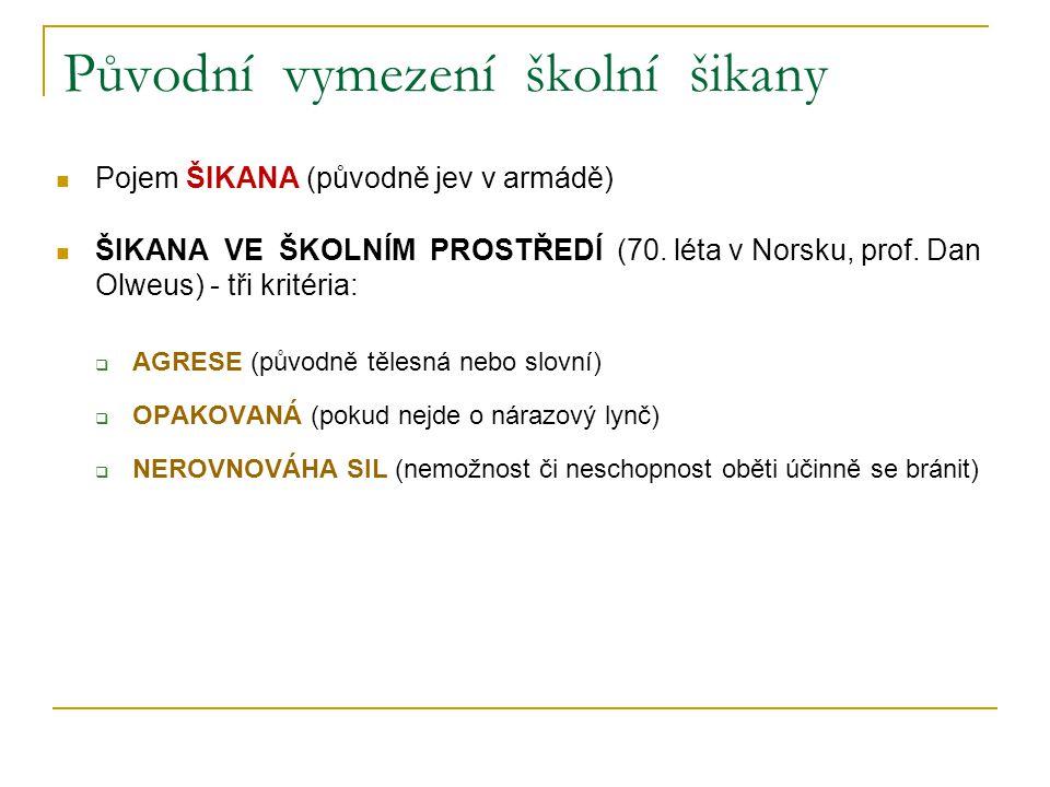 Původní vymezení školní šikany Pojem ŠIKANA (původně jev v armádě) ŠIKANA VE ŠKOLNÍM PROSTŘEDÍ (70. léta v Norsku, prof. Dan Olweus) - tři kritéria: 