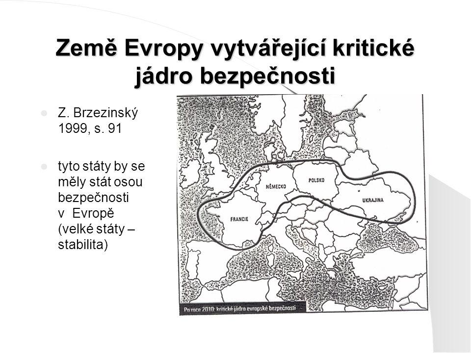 Země Evropy vytvářející kritické jádro bezpečnosti Z. Brzezinský 1999, s. 91 tyto státy by se měly stát osou bezpečnosti v Evropě (velké státy – stabi