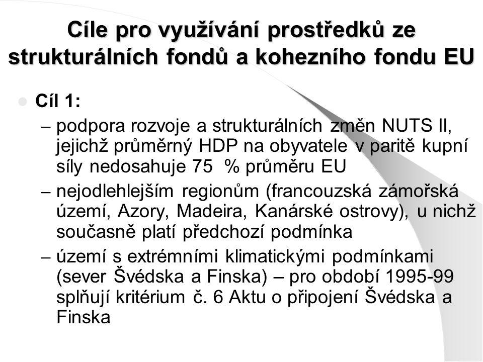 Cíle pro využívání prostředků ze strukturálních fondů a kohezního fondu EU Cíl 1: – podpora rozvoje a strukturálních změn NUTS II, jejichž průměrný HDP na obyvatele v paritě kupní síly nedosahuje 75 % průměru EU – nejodlehlejším regionům (francouzská zámořská území, Azory, Madeira, Kanárské ostrovy), u nichž současně platí předchozí podmínka – území s extrémními klimatickými podmínkami (sever Švédska a Finska) – pro období 1995-99 splňují kritérium č.