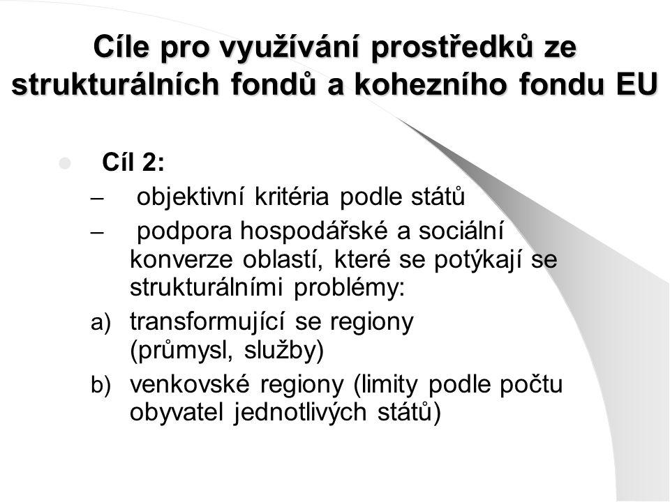 Cíle pro využívání prostředků ze strukturálních fondů a kohezního fondu EU Cíl 2: – objektivní kritéria podle států – podpora hospodářské a sociální konverze oblastí, které se potýkají se strukturálními problémy: a) transformující se regiony (průmysl, služby) b) venkovské regiony (limity podle počtu obyvatel jednotlivých států)
