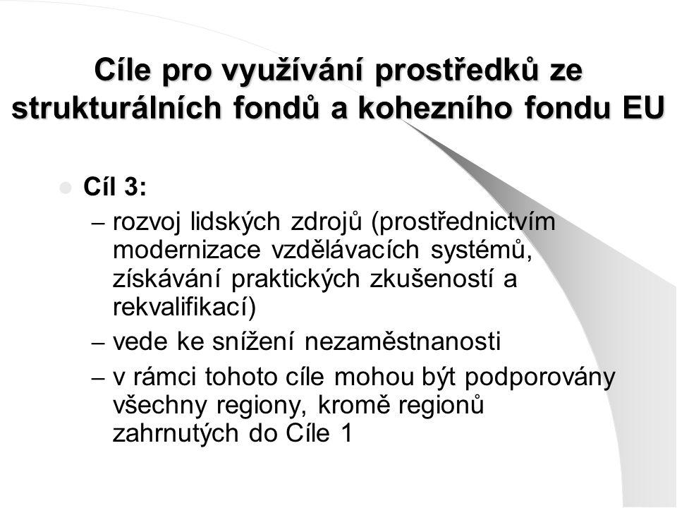 Cíle pro využívání prostředků ze strukturálních fondů a kohezního fondu EU Cíl 3: – rozvoj lidských zdrojů (prostřednictvím modernizace vzdělávacích s