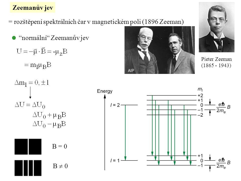 """Zeemanův jev = rozštěpení spektrálních čar v magnetickém poli (1896 Zeeman) Pieter Zeeman (1865 - 1943)  """"normální"""" Zeemanův jev B = 0 B  0"""