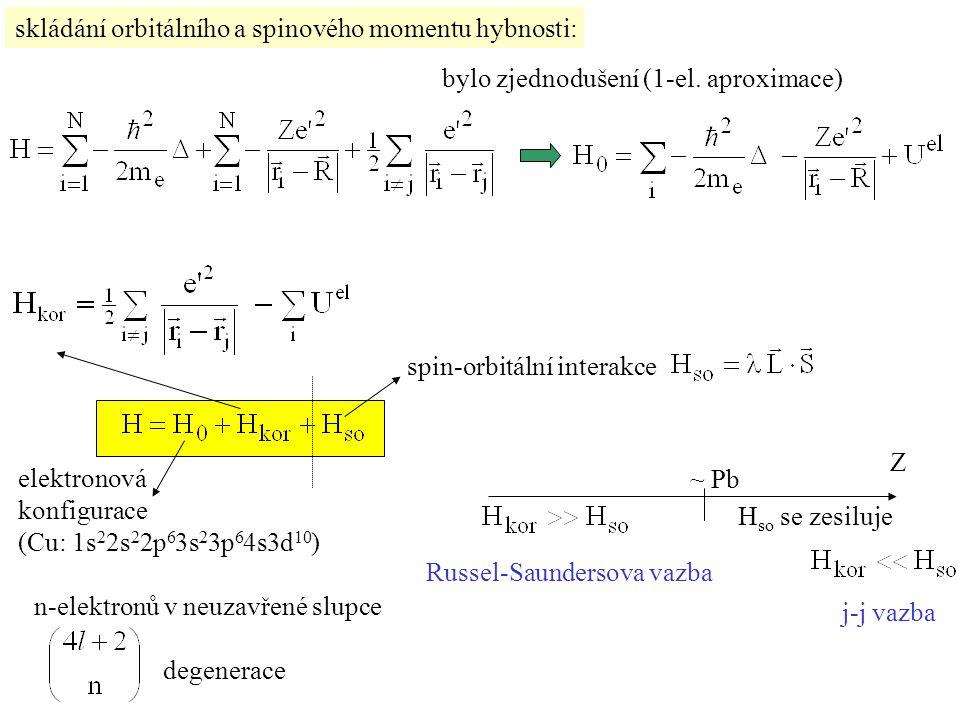 (Russel-Saundersova vazba) 1 elektron: slupka n elektronů: zcela zaplněná slupka: elektronová konfigurace termy  1) (2L+1)(2S+1)  2) multiplety částečně zaplněná slupka podstatná jemná struktura (2J+1) L,S J celkový moment hybnosti: j-j vazba