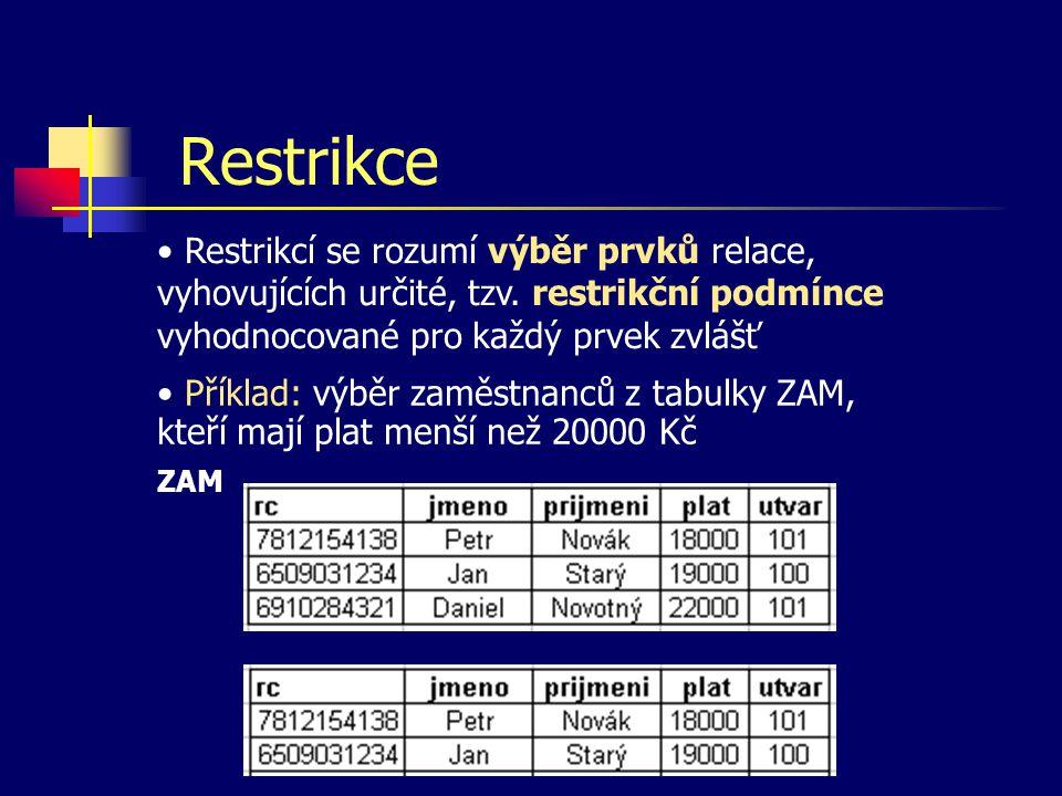 Restrikce Restrikcí se rozumí výběr prvků relace, vyhovujících určité, tzv. restrikční podmínce vyhodnocované pro každý prvek zvlášť Příklad: výběr za