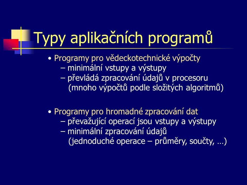 Typy aplikačních programů Programy pro vědeckotechnické výpočty – minimální vstupy a výstupy – převládá zpracování údajů v procesoru (mnoho výpočtů po