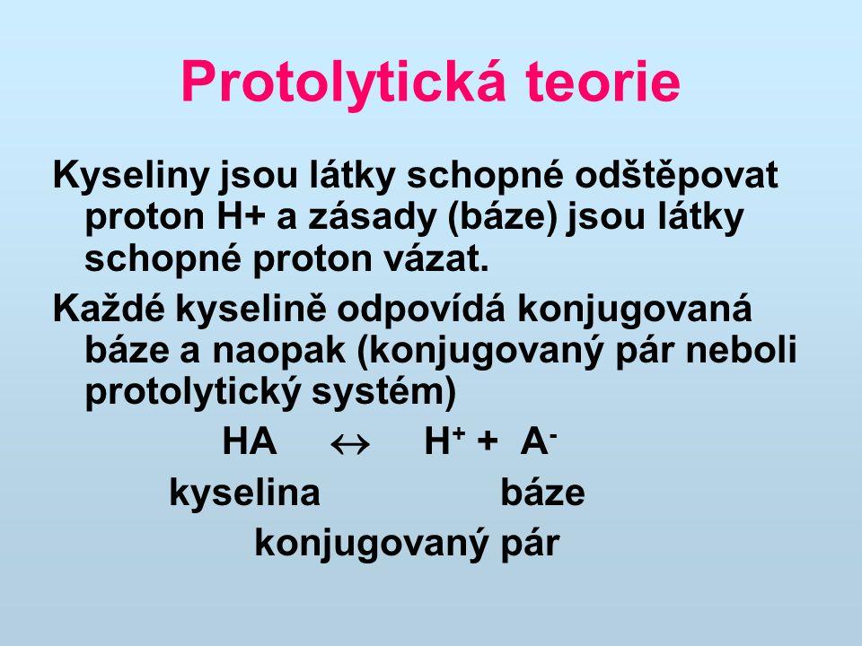 Protolytická teorie Kyseliny jsou látky schopné odštěpovat proton H+ a zásady (báze) jsou látky schopné proton vázat. Každé kyselině odpovídá konjugov