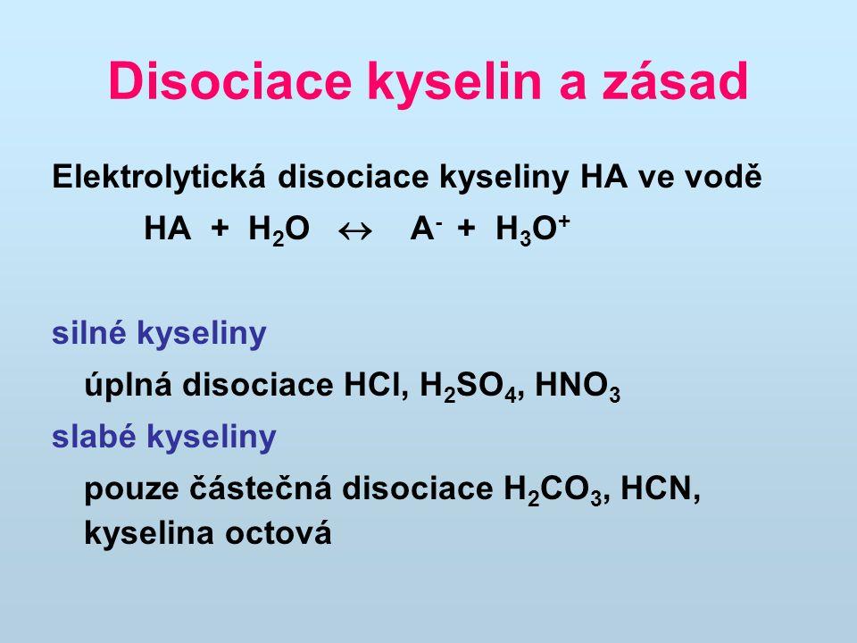 Disociace kyselin a zásad Elektrolytická disociace kyseliny HA ve vodě HA + H 2 O  A - + H 3 O + silné kyseliny úplná disociace HCl, H 2 SO 4, HNO 3