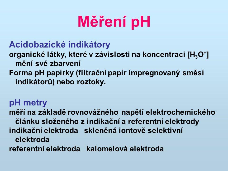 Měření pH Acidobazické indikátory organické látky, které v závislosti na koncentraci [H 3 O + ] mění své zbarvení Forma pH papírky (filtrační papír im
