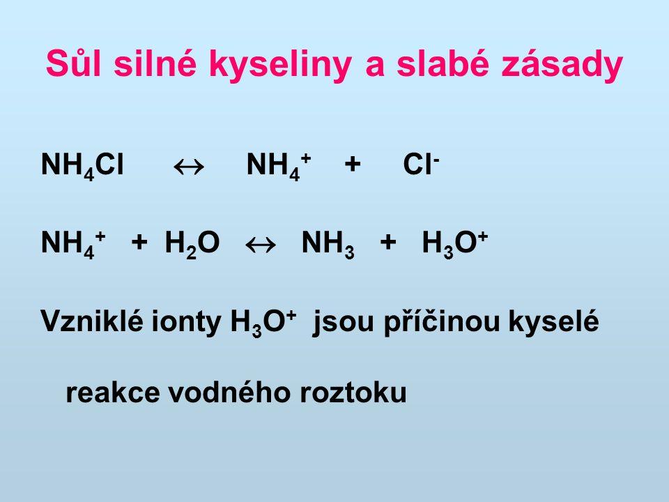 Sůl silné kyseliny a slabé zásady NH 4 Cl  NH 4 + + Cl - NH 4 + + H 2 O  NH 3 + H 3 O + Vzniklé ionty H 3 O + jsou příčinou kyselé reakce vodného ro