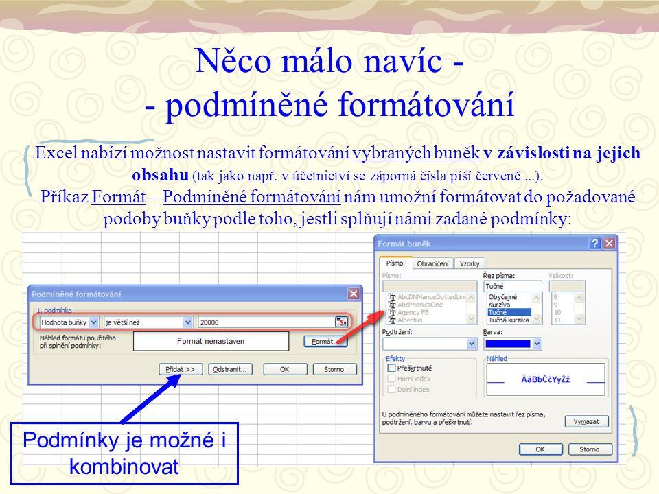 Něco málo navíc - - podmíněné formátování Excel nabízí možnost nastavit formátování vybraných buněk v závislosti na jejich obsahu (tak jako např.