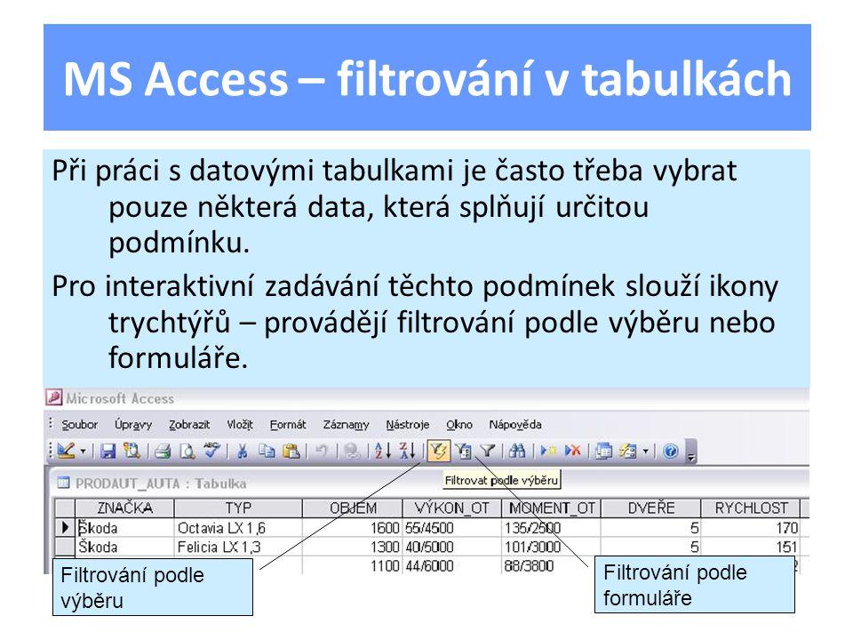 Při práci s datovými tabulkami je často třeba vybrat pouze některá data, která splňují určitou podmínku.