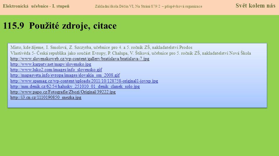 115.9 Použité zdroje, citace Elektronická učebnice - I.