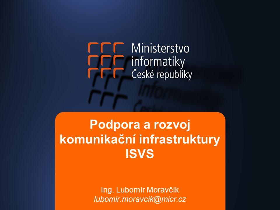 Podpora a rozvoj komunikační infrastruktury ISVS Ing. Lubomír Moravčík lubomir.moravcik@micr.cz