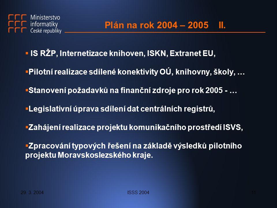 29. 3. 2004ISSS 200411 Plán na rok 2004 – 2005 II.  IS RŽP, Internetizace knihoven, ISKN, Extranet EU,  Pilotní realizace sdílené konektivity OÚ, kn