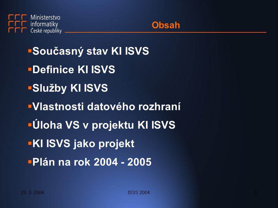 29. 3. 2004ISSS 20042 Obsah  Současný stav KI ISVS  Definice KI ISVS  Služby KI ISVS  Vlastnosti datového rozhraní  Úloha VS v projektu KI ISVS 