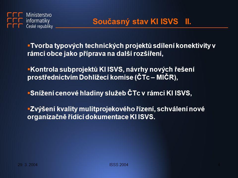 29. 3. 2004ISSS 20044 Současný stav KI ISVS II.  Tvorba typových technických projektů sdílení konektivity v rámci obce jako příprava na další rozšíře