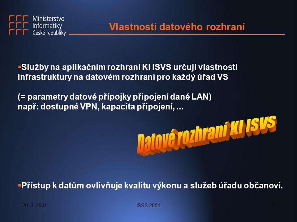 29. 3. 2004ISSS 20047 Vlastnosti datového rozhraní  Služby na aplikačním rozhraní KI ISVS určují vlastnosti infrastruktury na datovém rozhraní pro ka