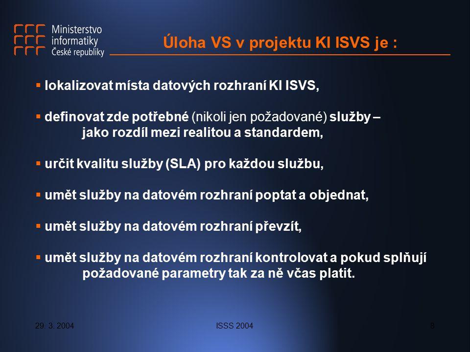 29. 3. 2004ISSS 20048 Úloha VS v projektu KI ISVS je :  lokalizovat místa datových rozhraní KI ISVS,  definovat zde potřebné (nikoli jen požadované)