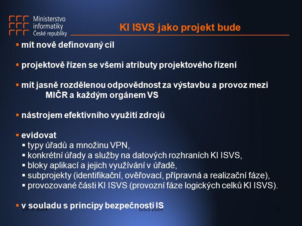 29. 3. 2004ISSS 20049 KI ISVS jako projekt bude  mít nově definovaný cíl  projektově řízen se všemi atributy projektového řízení  mít jasně rozděle