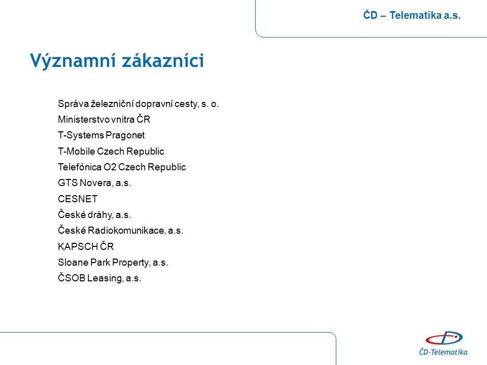Významní zákazníci ČD – Telematika a.s. Správa železniční dopravní cesty, s. o. Ministerstvo vnitra ČR T-Systems Pragonet T-Mobile Czech Republic Tele