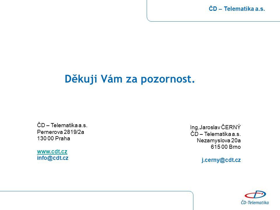 Děkuji Vám za pozornost. ČD – Telematika a.s. Pernerova 2819/2a 130 00 Praha www.cdt.cz info@cdt.cz Ing,Jaroslav ČERNÝ ČD – Telematika a.s. Nezamyslov