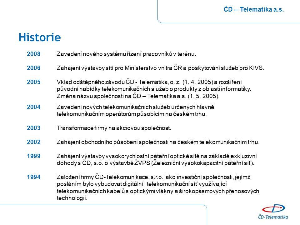 Historie ČD – Telematika a.s. 2008Zavedení nového systému řízení pracovníků v terénu. 2006 Zahájení výstavby sítí pro Ministerstvo vnitra ČR a poskyto