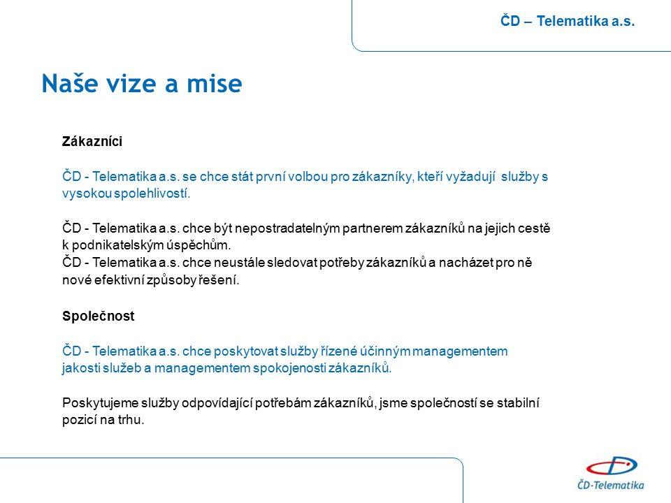 Naše vize a mise ČD – Telematika a.s. Zákazníci ČD - Telematika a.s. se chce stát první volbou pro zákazníky, kteří vyžadují služby s vysokou spolehli