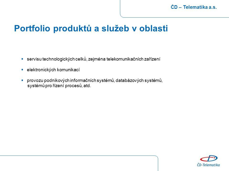Portfolio produktů a služeb v oblasti ČD – Telematika a.s.  servisu technologických celků, zejména telekomunikačních zařízení  elektronických komuni